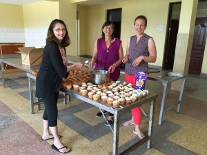 Getting the 200 cupcakes ready to eat after Baby House dedication.